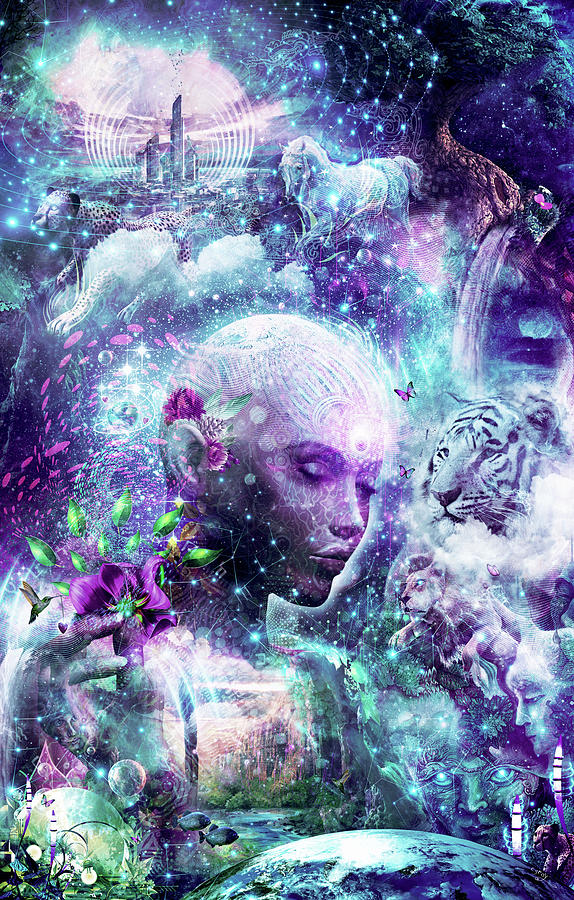 Blue Digital Art - Discovering The Cosmic Consciousness by Cameron Gray