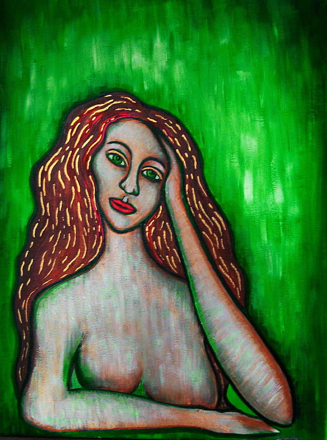 Female Painting - Discrete Contemplation-green by Brenda Higginson