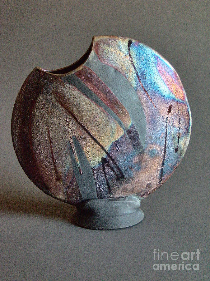 Pottery Ceramic Art - Disk On Stand by Ann Wallin