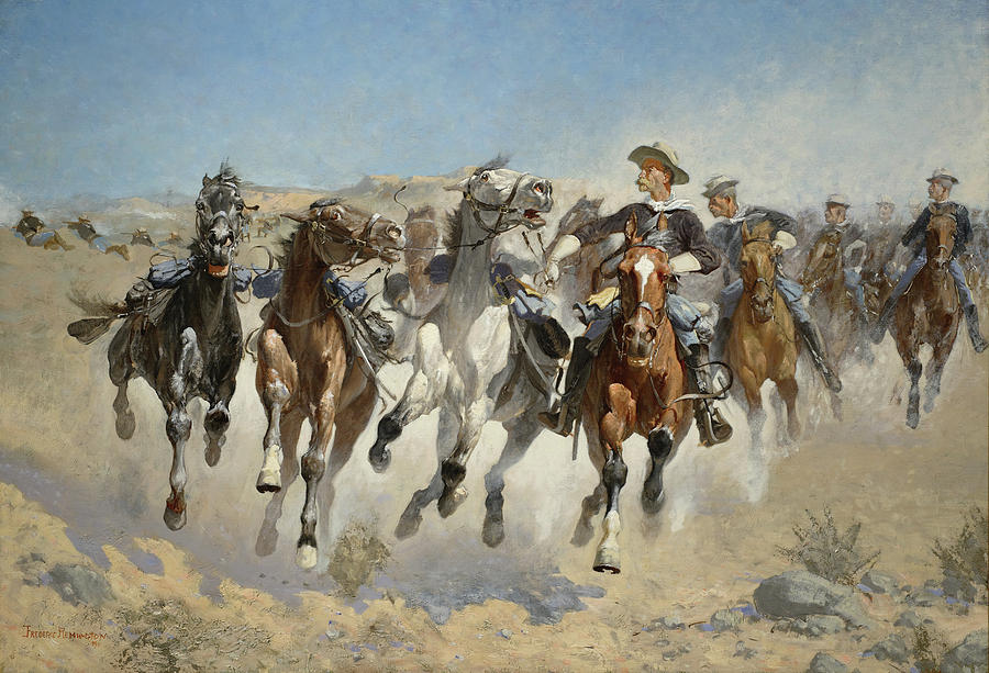 Remington Painting - Dismounted The Fourth Troopers Moving the Led Horses by Frederic Remington