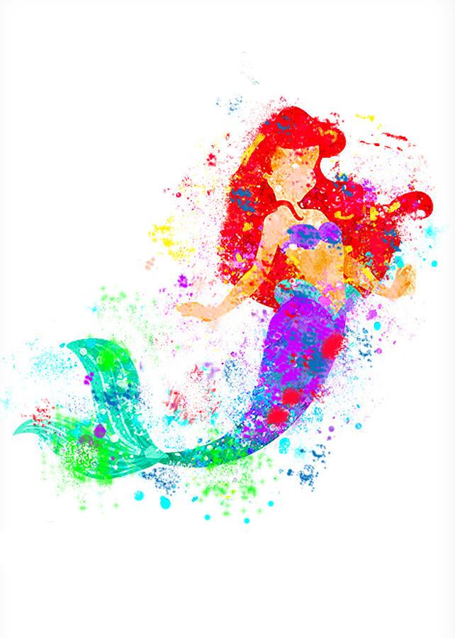 Disney Ariel Little Mermaid Watercolor  Digital Art by Midex Planet