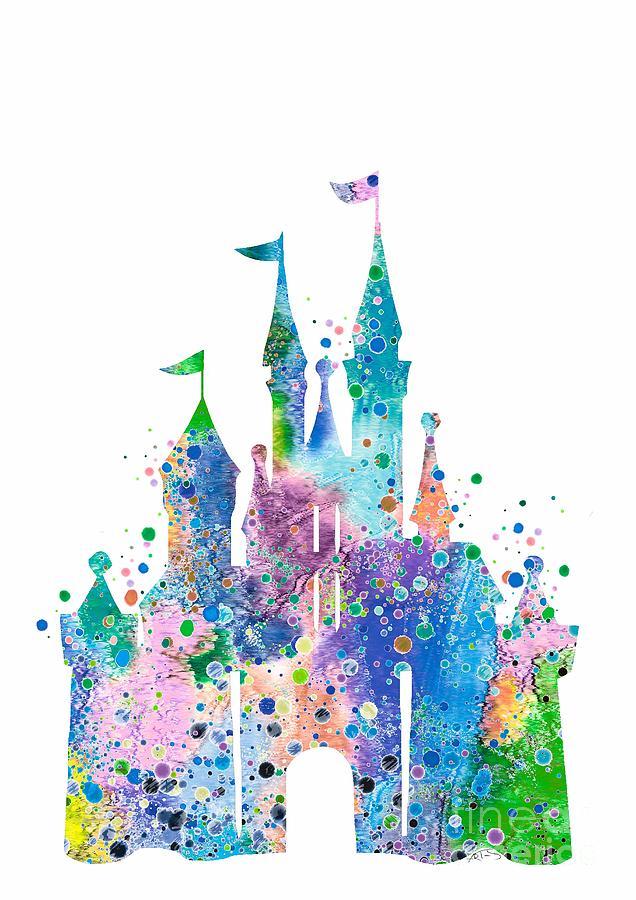 Disney Castle 2 Watercolor Print Digital Art By Svetla