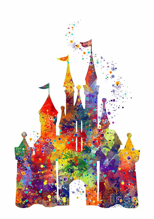 Disney Castle Digital Art - Disney Castle 6 Watercolor Print by Svetla Tancheva