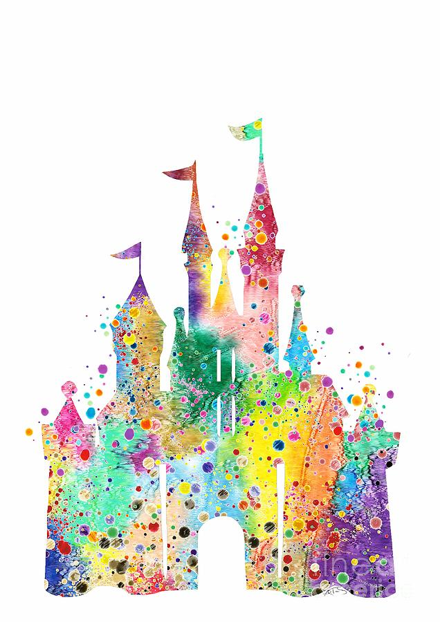 Disney Castle Digital Art - Disney Castle Watercolor Print by White Lotus