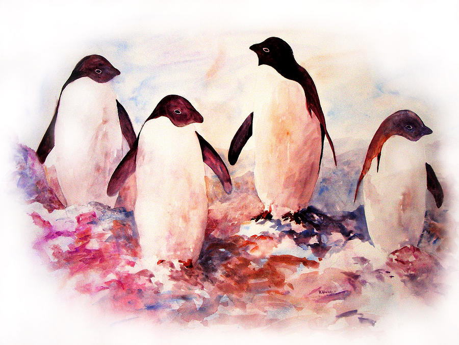 Penguins Painting - Dissident by Rachel Christine Nowicki