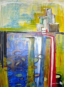 City Painting - Distant City by Janice Webb