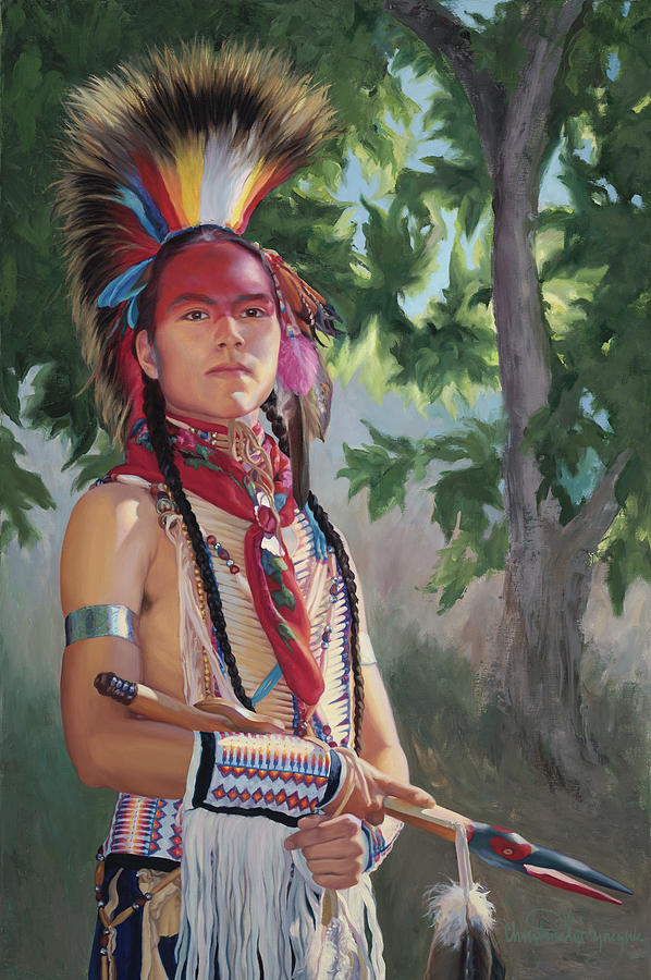 Native American Painting - Distant Song by Christine Lytwynczuk