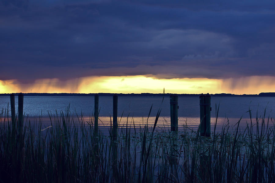 Lake Digital Art - Distant Storms At Sunset by DigiArt Diaries by Vicky B Fuller