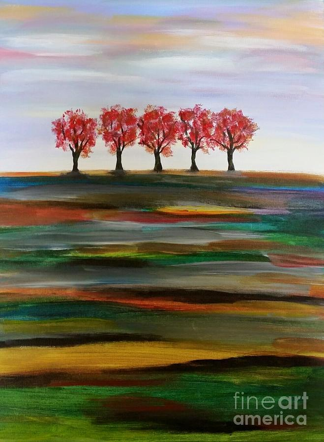 Trees Painting - Distant Trees by Carolyn Weir