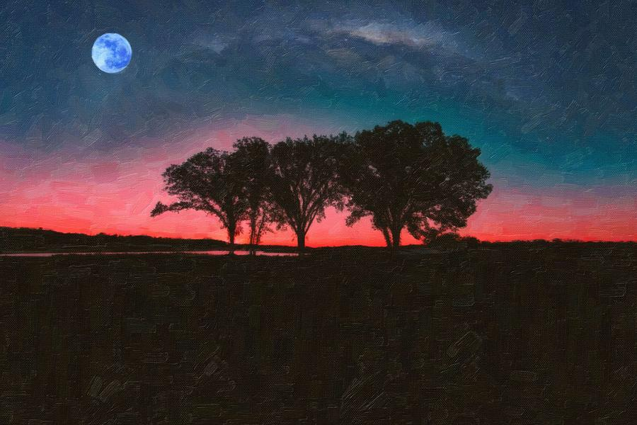 Nature Painting - Distant Trees Under Milkyway Horizon By Adam Asar 2 by Adam Asar