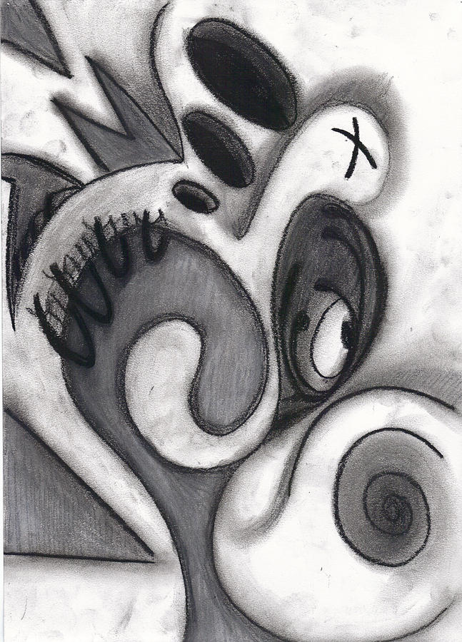 Charcoal Drawing - Distorted Series 3 by Dan Fluet