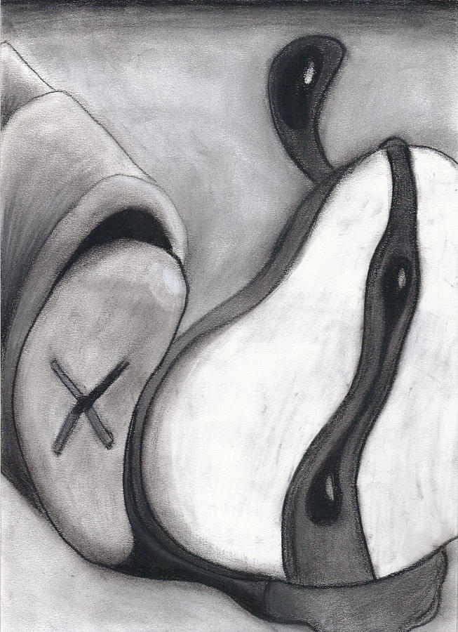 Charcoal Drawing - Distorted Series 4 by Dan Fluet