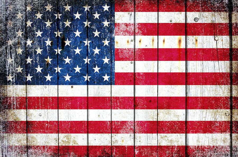 Distressed American Flag On Wood Planks - Horizontal by M L C