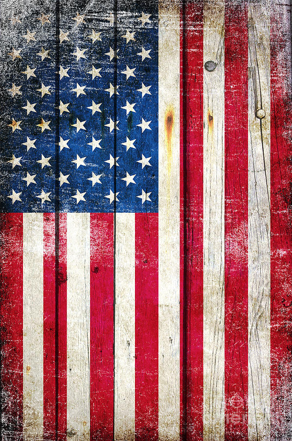 Distressed American Flag On Wood - Vertical by M L C
