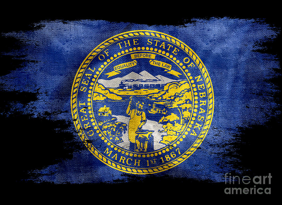 Nebraska Photograph - Distressed Nebraska Flag On Black by Jon Neidert