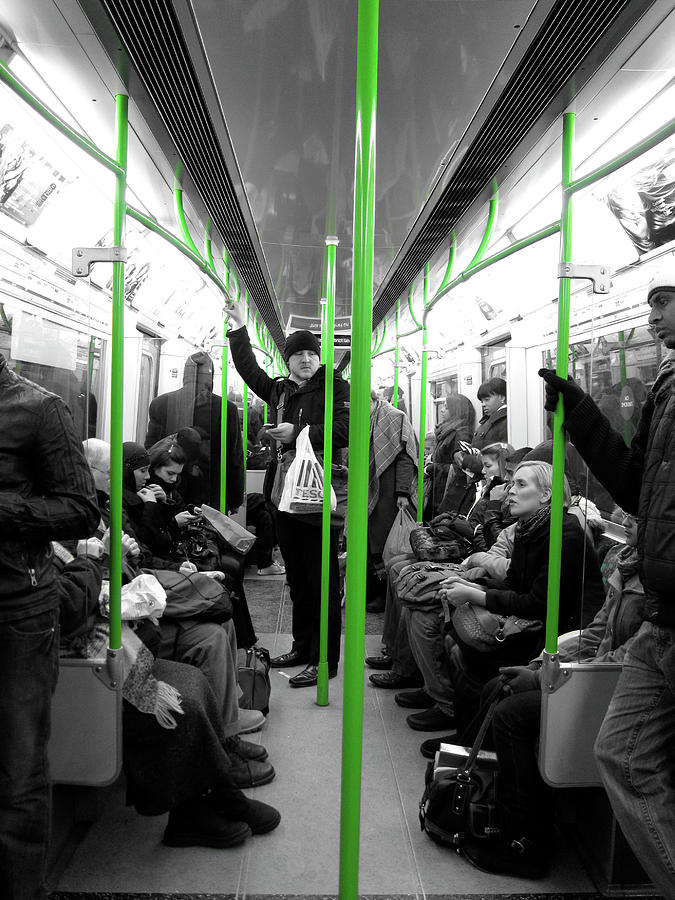 Subway Photograph - District Line - Green by Jaime Scatena