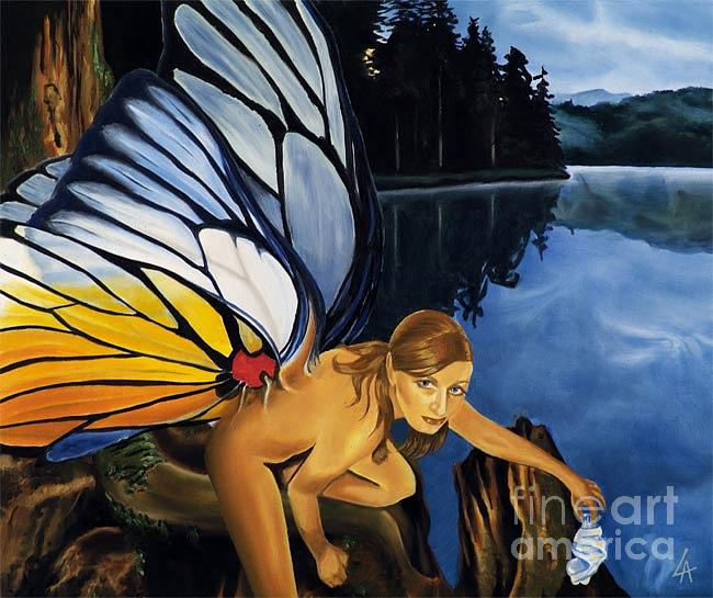 Faery Painting - Disturbed Faery by Linda Laforge
