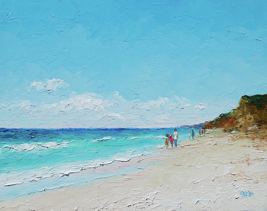 Beach Painting - Ditch Plains Beach Montauk Hamptons Ny by Jan Matson