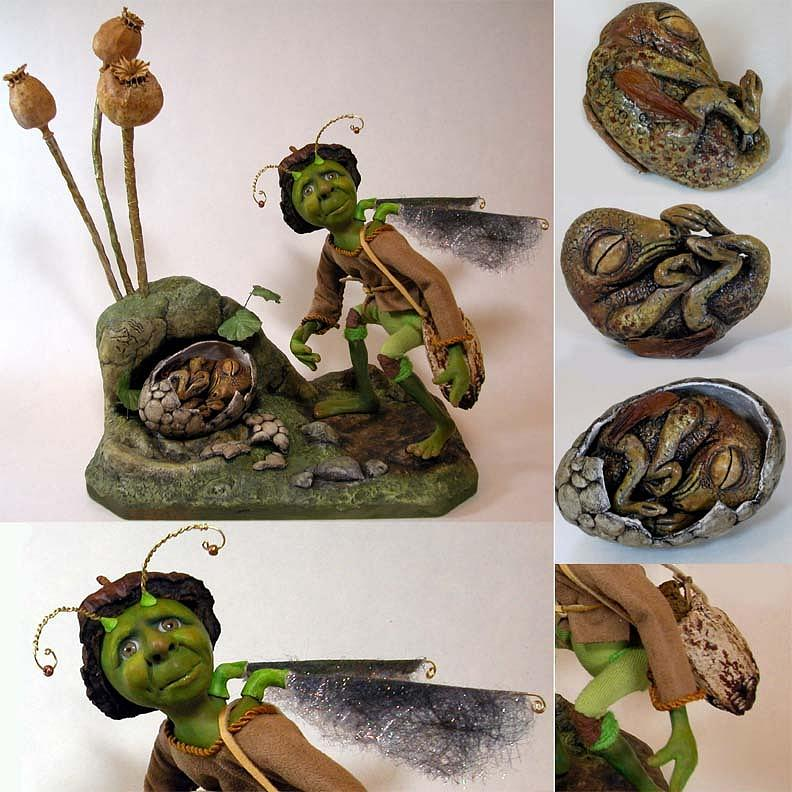 Fantasy Sculpture - Dittles Disturbing Discovery by Linda Apple