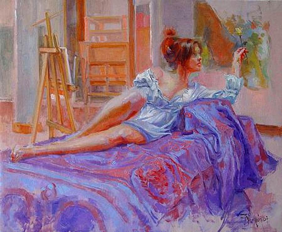 Spain Painting - Diva En El Atalier by Ramon Gutierrez