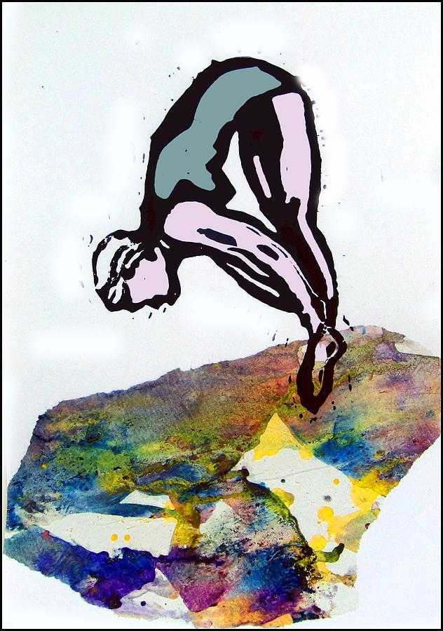Lino Mixed Media - Dive - Evening Pool by Adam Kissel