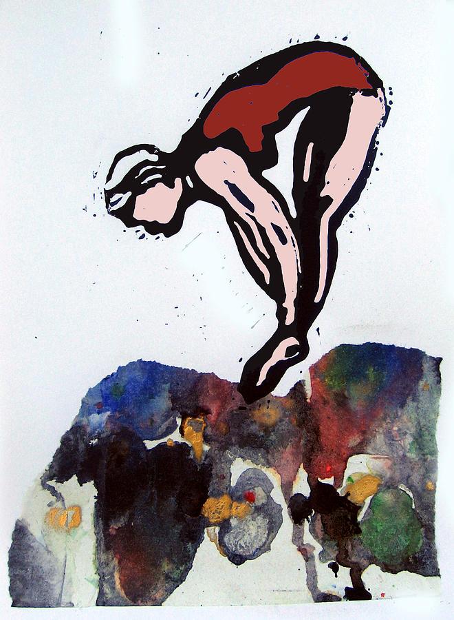Lino Mixed Media - Dive - Off Golden Cliffs by Adam Kissel