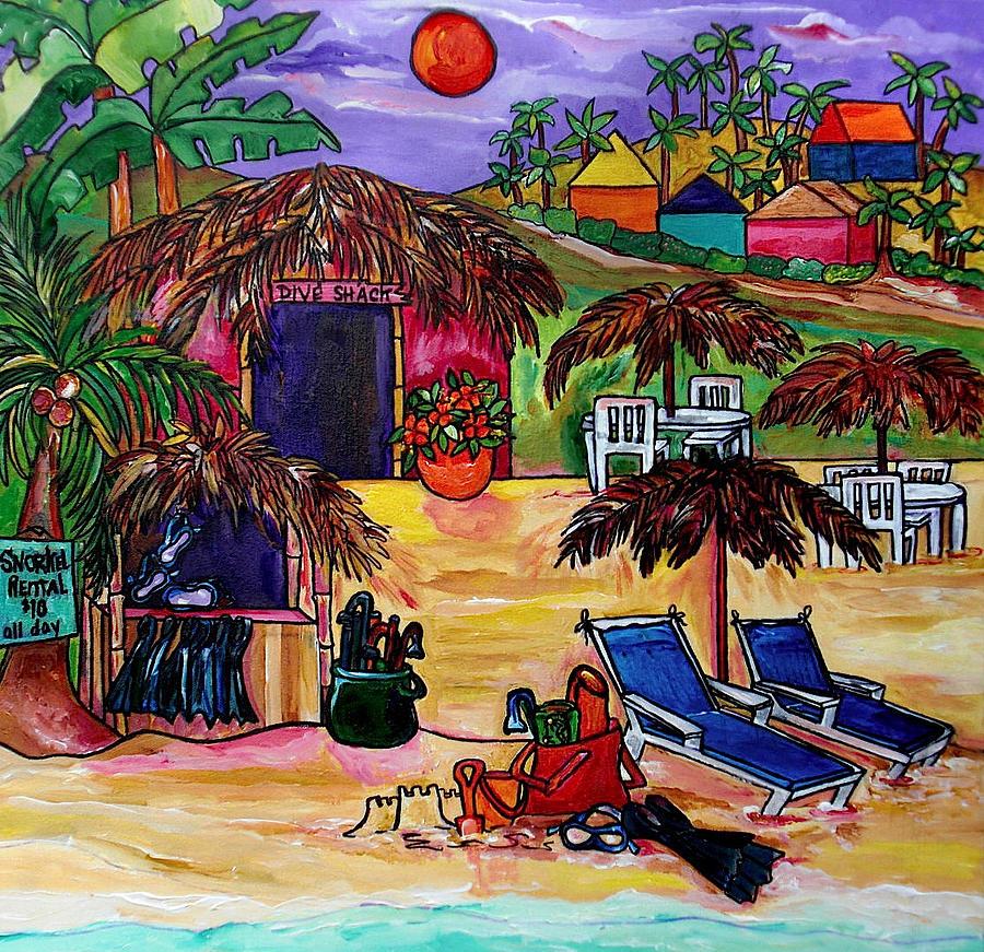 Caribbean Painting - Dive Shack by Patti Schermerhorn