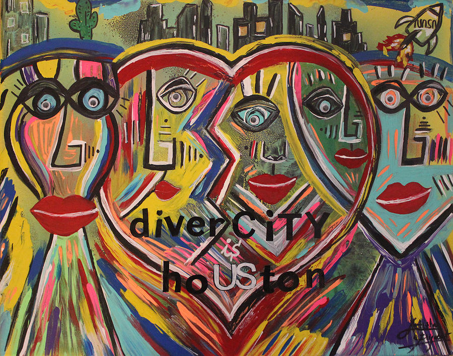 Houston Mixed Media - diverCITY is hoUSton by Artista Elisabet