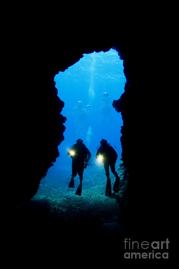 Beautiful Photograph - Divers Silhouetted Through Reef by Dave Fleetham - Printscapes