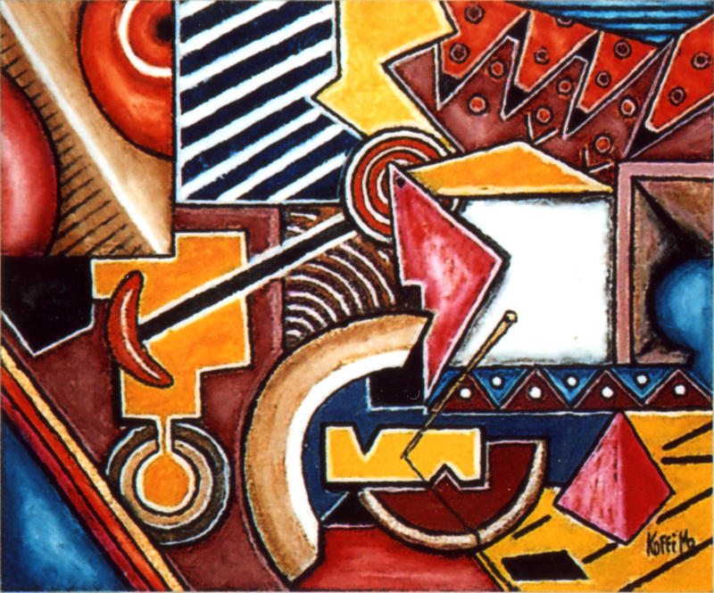 Abstract Painting - Diversity by Koffi Mbairamadji