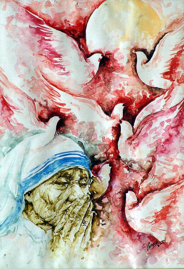 Spirtual Painting - Divine Mother Teresa by Pc