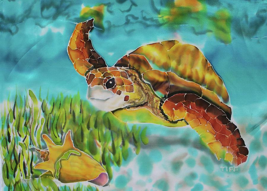 Green Turtle Painting - Diving Conch by Tiff