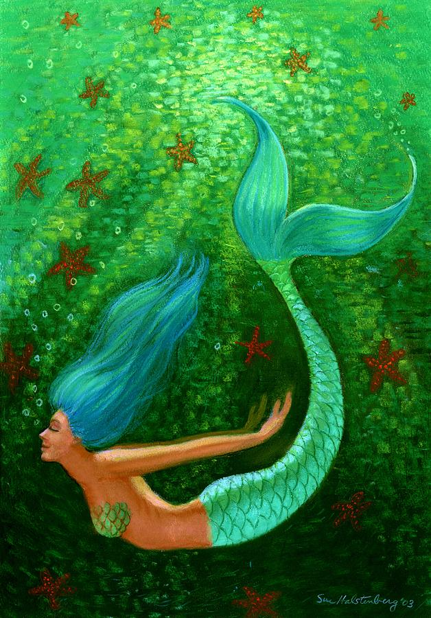 Diving Mermaid Fantasy Art Painting By Sue Halstenberg