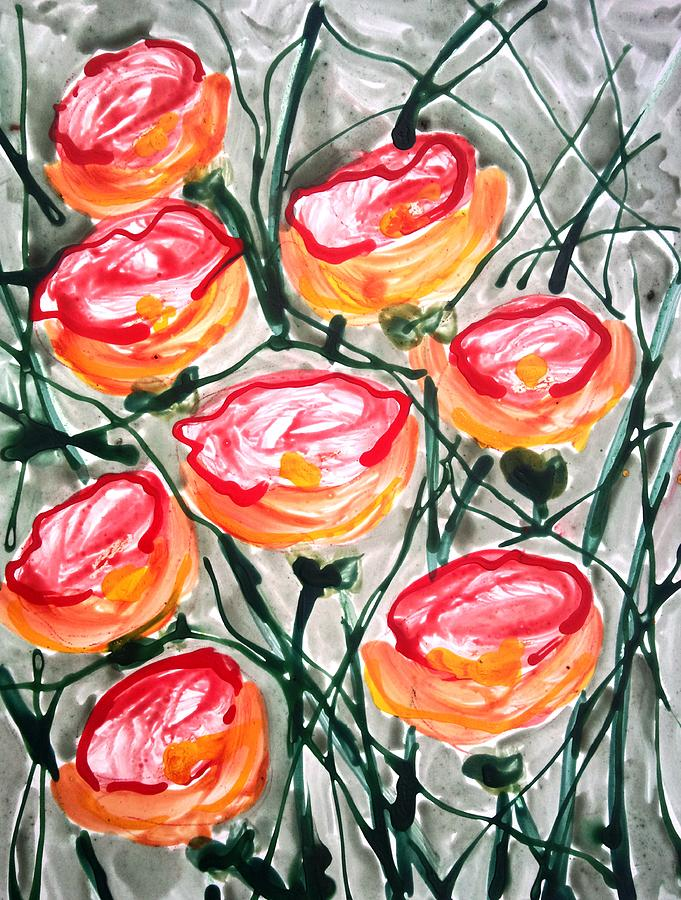 Abstract Painting - Divne Flowers by Baljit Chadha
