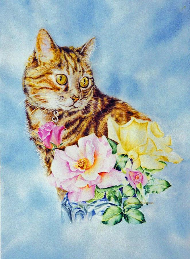 Tabby Painting - Dixie-cat by Nancy Newman