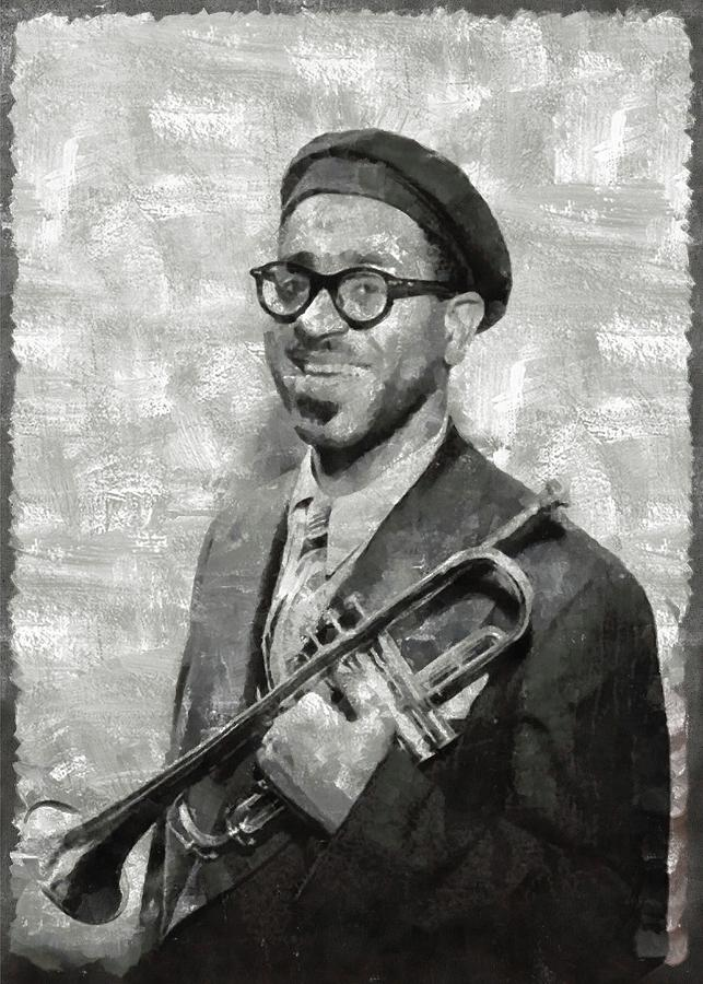 Dizzy Painting - Dizzy Gillespie Vintage Jazz Musician by Mary Bassett