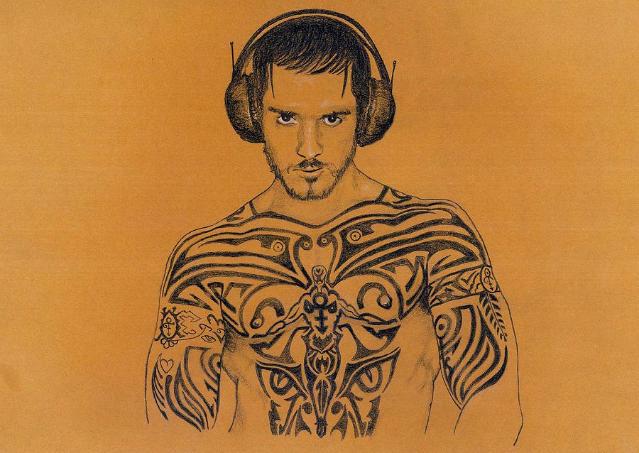 Gay Drawing - DJ by Mon Graffito