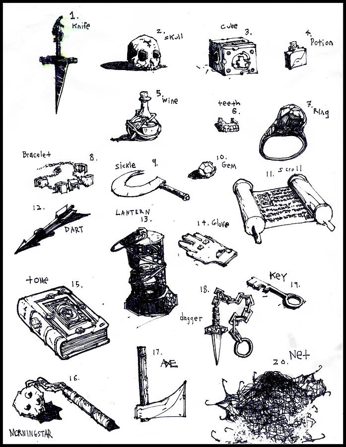 Dnd Items Drawing By Zak Smith