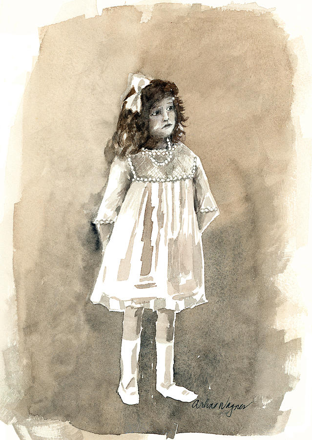 Girl Painting - Do I Have To Wear A Dress by Arline Wagner