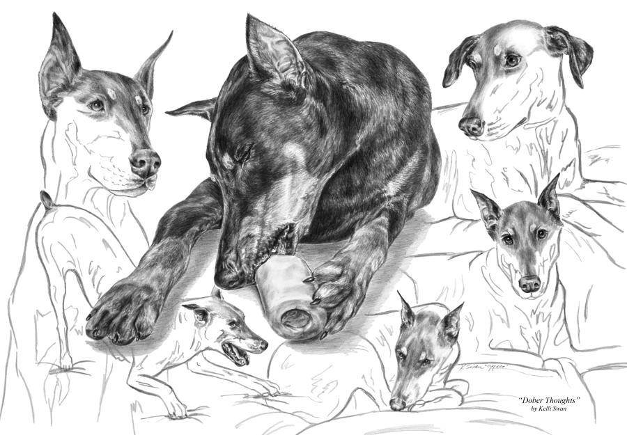 Doberman Drawing - Dober-thoughts - Doberman Pinscher Montage by Kelli Swan