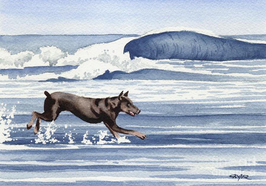 Doberman Painting - Doberman at the Beach  by David Rogers