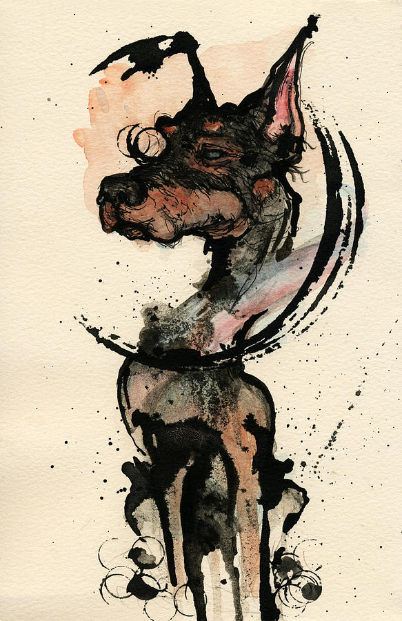 Dog Painting - Doberman by Mark M  Mellon