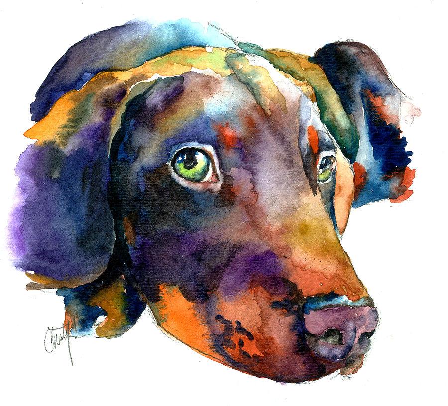 Doberman Painting - Doberman Watercolor by Christy  Freeman
