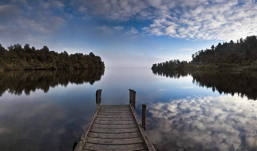 Dock In Misty Lake Mapourika Westland Photograph by Colin Monteath