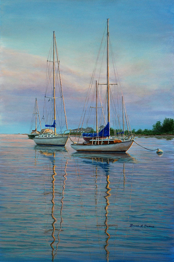 Boat Painting - Dock N Dine by Bruce Dumas