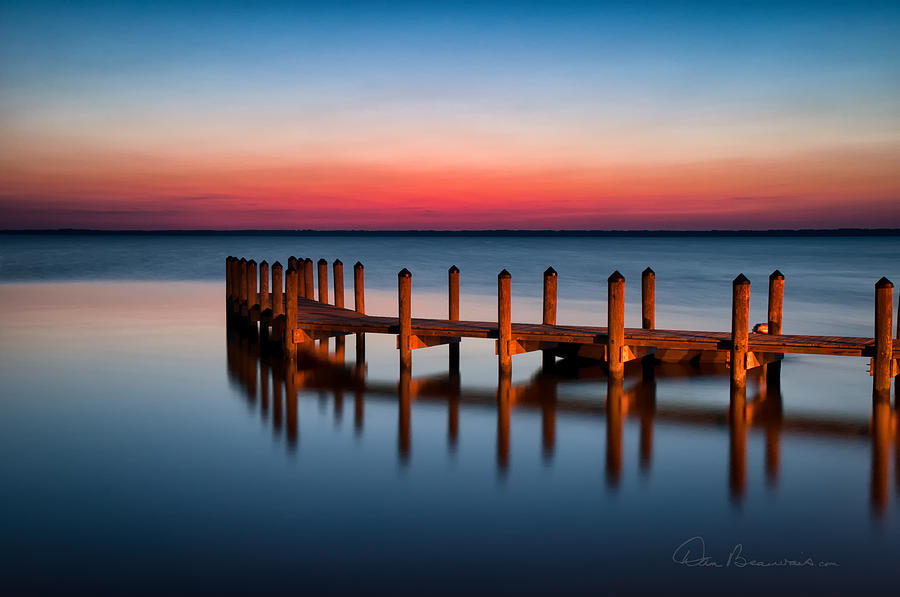 Currituck Sound Photograph - Dock On Currituck Sound 5665 by Dan Beauvais