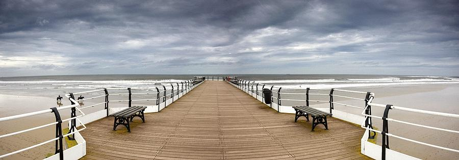 British Photograph - Dock With Benches, Saltburn, England by John Short