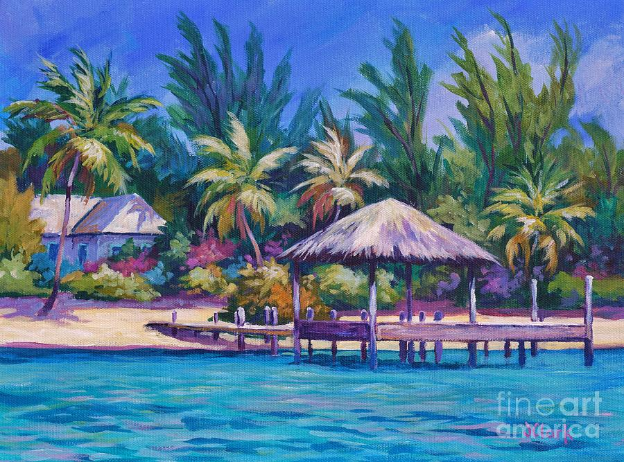 Dock Painting - Dock With Thatched Cabana by John Clark