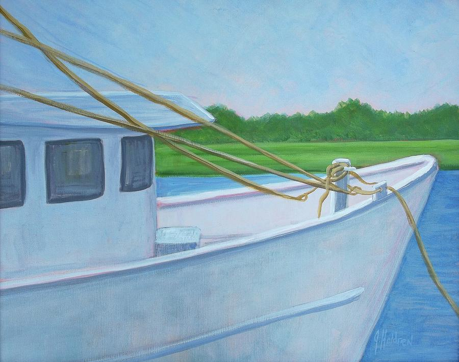 Boat Painting - Docked At Calabash by Justin Holdren
