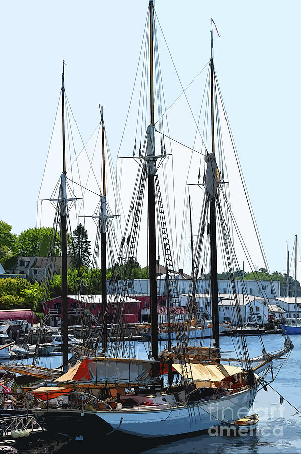 New England Digital Art - Docked Masts by Kirt Tisdale